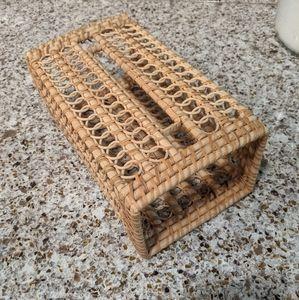 Boho wicker rattan tissue box cover